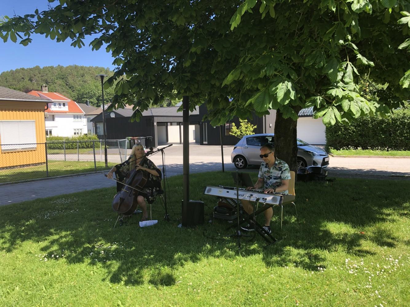 To musikere spiller konsert under et tre