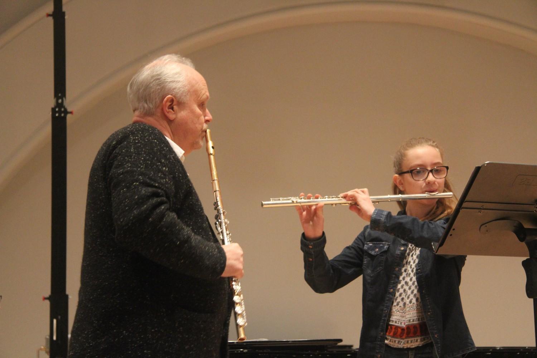 Fløytist møter mentor ved Knuden - Kristiansand kulturskole